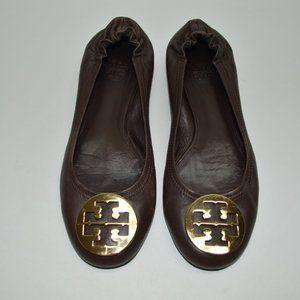 Tory Burch Reva Dark Brown Soft Leather Flats 9.5